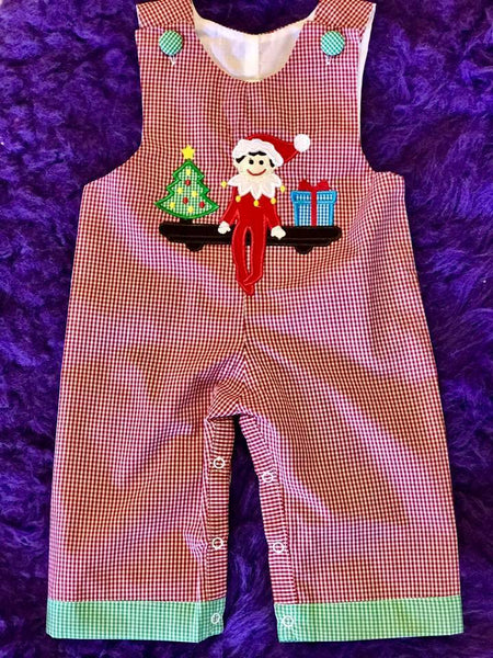B & A 2017 Christmas Red/Green Elf On The Shelf Boys Romper - JEN'S KIDS BOUTIQUE