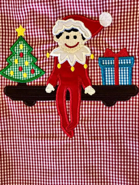 B & A Christmas Red/Green Elf On The Shelf Boys Romper - JEN'S KIDS BOUTIQUE