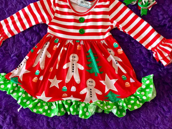 Enchanted Forest Christmas Gingerbread Fun Party Dress CH - JEN'S KIDS BOUTIQUE