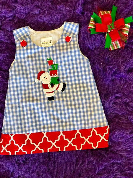 B & A  Adorable Christmas Blue/White Gingham Santa & Presents Applique  Dress - JEN'S KIDS BOUTIQUE