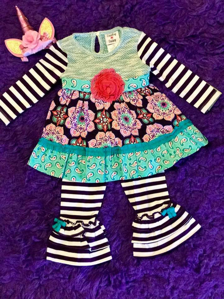 89f321312a1 Rare E Counting Daisy 2017 Fall Aqua Striped Flower Pant Set - JEN S KIDS  BOUTIQUE