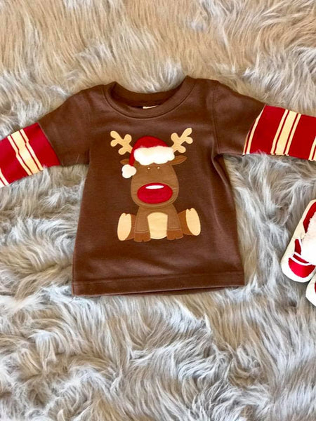 Wally N Willie By Peaches N Cream  Christmas Boys Reindeer Shirt CH - JEN'S KIDS BOUTIQUE