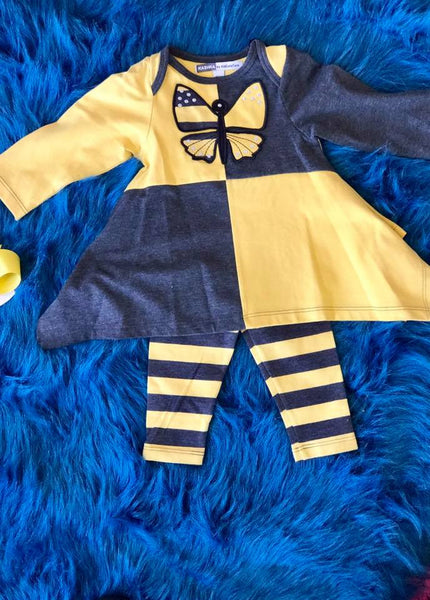 Kashka Kid Couture Yellow/Gray Butterfly Set - JEN'S KIDS BOUTIQUE