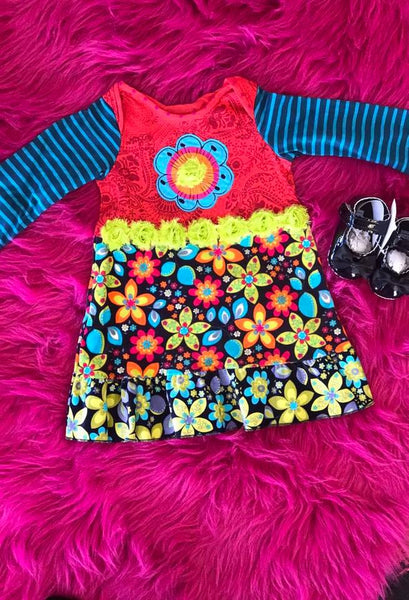 ZaZa Couture Fall Colorful Flower Dress - JEN'S KIDS BOUTIQUE