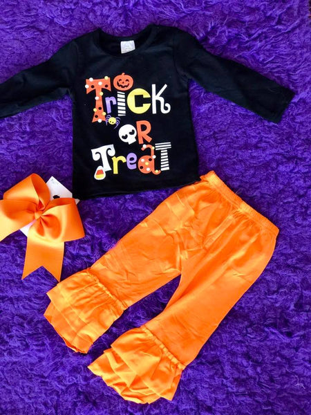 Halloween Cute Orange Ruffle Pants - JEN'S KIDS BOUTIQUE