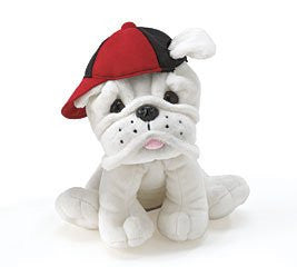"Burton And Burton Plush Bulldog Puppy With Cap 7 1/2"" - JEN'S KIDS BOUTIQUE"