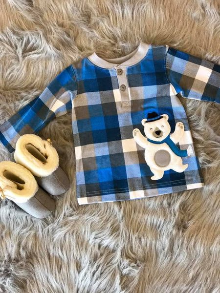 Wally N Willie By Peaches N Cream  Christmas Boys Bear Shirt CH - JEN'S KIDS BOUTIQUE