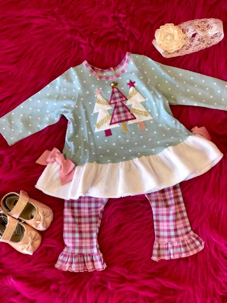 Molly & Millie By Peaches N Cream Christmas Infant Tree Pant Set CH - JEN'S KIDS BOUTIQUE