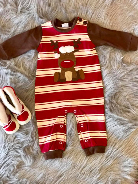 Wally & Willie By Peaches N Cream  Christmas Boys Stripped Reindeer Romper CH - JEN'S KIDS BOUTIQUE