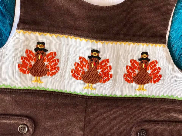 Mom & Me Fall Thanksgiving Brown Turkey Smocked Boys Longall - JEN'S KIDS BOUTIQUE