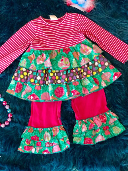 Millie Jay Christmas Ornament Pant Set CH - JEN'S KIDS BOUTIQUE