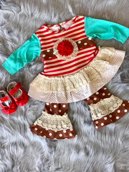 Peaches N Cream Christmas Stripped Polka Dot Vintage Pant Set CH - JEN'S KIDS BOUTIQUE