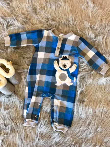 Wally & Willie By Peaches N Cream  Christmas Boys Bear Romper CH - JEN'S KIDS BOUTIQUE