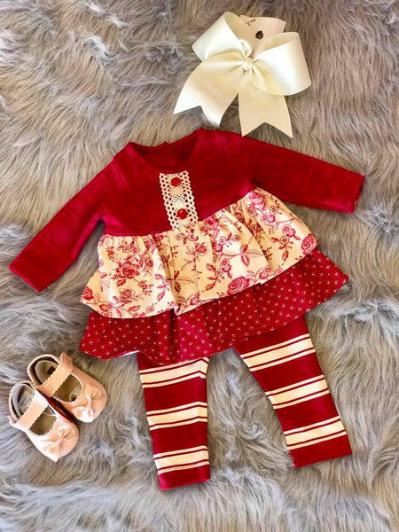 Molly & Millie 2017 Christmas Red & Cream Vintage Pant Set - JEN'S KIDS BOUTIQUE