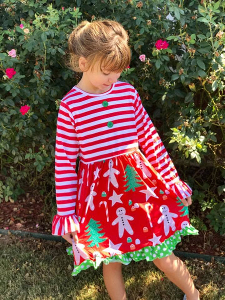 Enchanted Forest 2017 Christmas Gingerbread Fun Party Dress - JEN'S KIDS BOUTIQUE