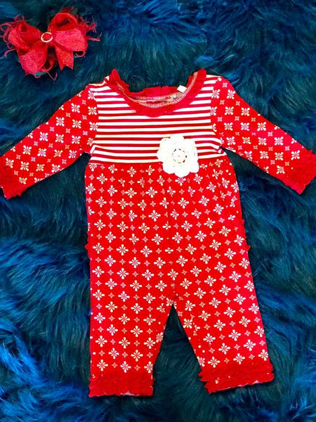 Ishtex Christmas Red & White Romper - JEN'S KIDS BOUTIQUE
