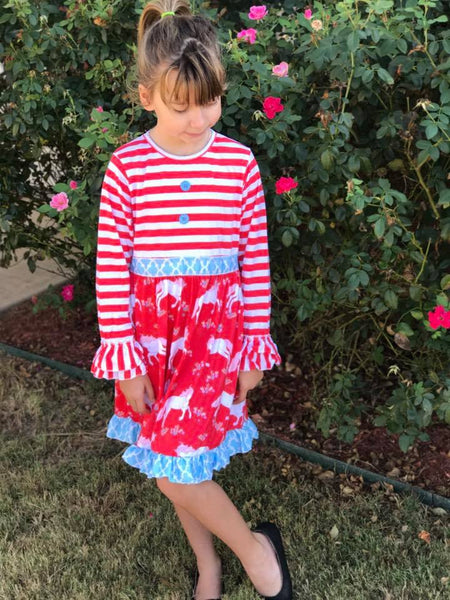 Royal One 2017 Fall Unicorn Red and Blue Dress - JEN'S KIDS BOUTIQUE