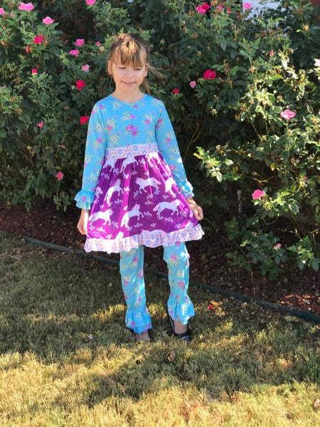 Royal One Fall Purple & Blue Unicorn Set - JEN'S KIDS BOUTIQUE