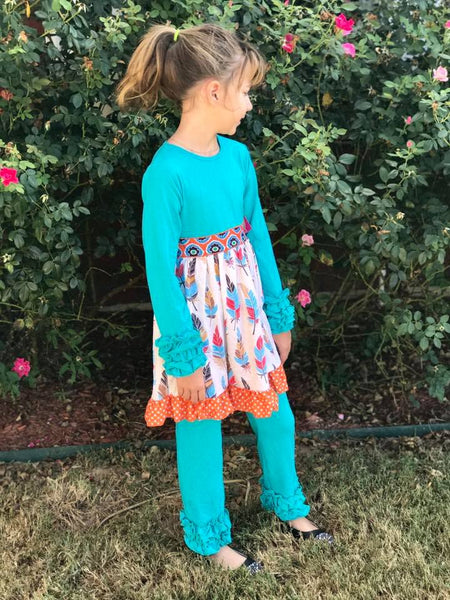 Royal One Fall Thanksgiving Feather Dress Set - JEN'S KIDS BOUTIQUE