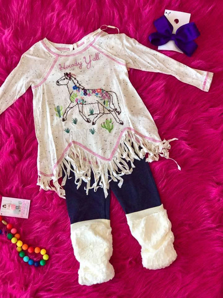 Baby Sara Fall L/S Raglan Tunic W/Howdy Yall Horse Embroidery And Fringe Hem - JEN'S KIDS BOUTIQUE