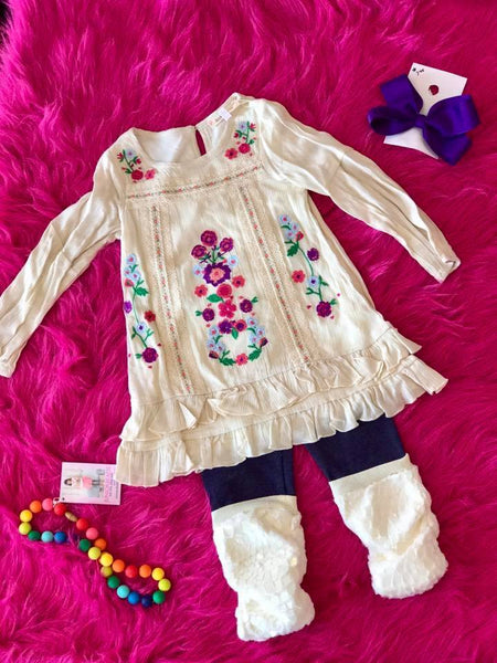Baby Sara Fall L/S Embroidery Dress W/Trim Detail And Ruffles At Hem - JEN'S KIDS BOUTIQUE
