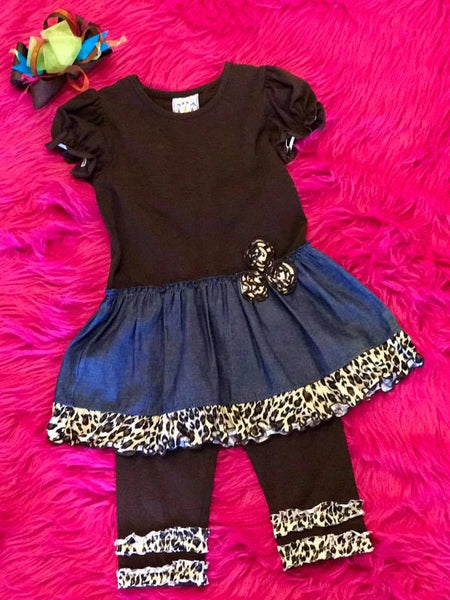 Three Sisters Fall Denim and Cheetah Legging set - JEN'S KIDS BOUTIQUE