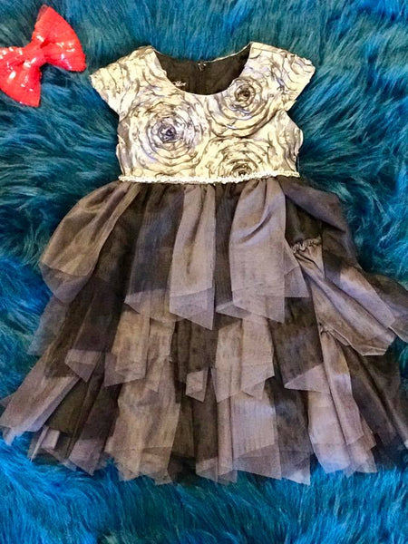 Isobella & Chloe Silver Rosette Dress - JEN'S KIDS BOUTIQUE