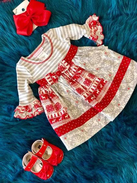 Bonnie Jean Christmas Red & Gray Deer Dress CH - JEN'S KIDS BOUTIQUE