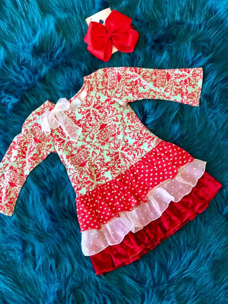 Flap Happy Christmas Red Paisley Dress - JEN'S KIDS BOUTIQUE
