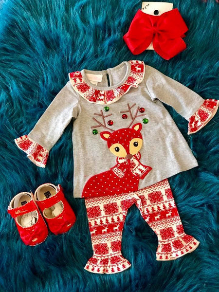 Bonnie Jean  Christmas Gray & Red Reindeer Set CH - JEN'S KIDS BOUTIQUE