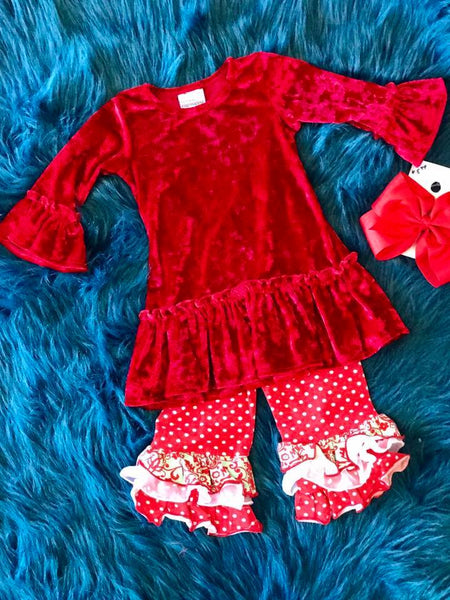 Flap Happy Christmas Red Velvet Paisley Pant Set - JEN'S KIDS BOUTIQUE