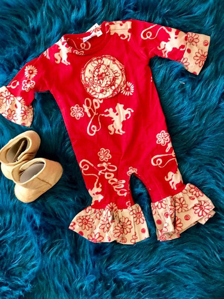 Koko-Nut Milk Kids Fall Girls Western Romper F - JEN'S KIDS BOUTIQUE