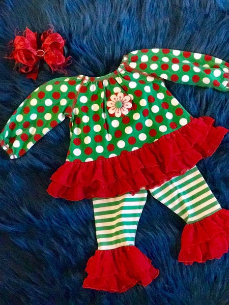 Miss t Vus Christmas Polka Dot Flower Set - JEN'S KIDS BOUTIQUE