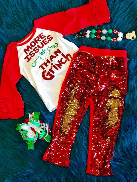 Holiday Fun Christmas Sparkle Shirt More Issues Then Grinch - JEN'S KIDS BOUTIQUE