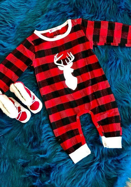 Adorable Red & Black Stripped Plaid  Boys  Kids Fall Boys Romper - JEN'S KIDS BOUTIQUE
