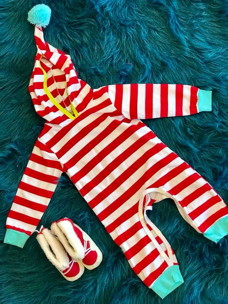 Cute As A Button Fall Red & White Stripped Boys Romper With Hood - JEN'S KIDS BOUTIQUE
