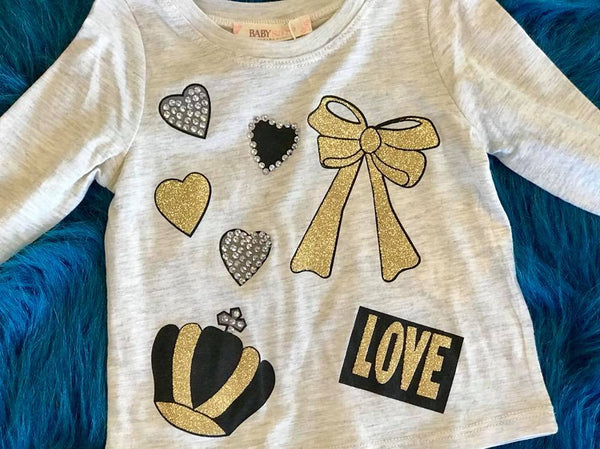 Baby Sara Fall L/S Hearts Bow Crown And Love Graphic Top - JEN'S KIDS BOUTIQUE