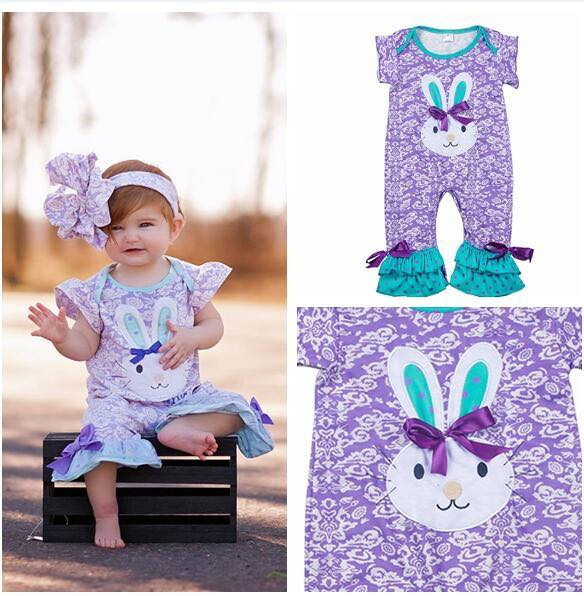 2018 Spring Easter Purple Bunny Romper - JEN'S KIDS BOUTIQUE