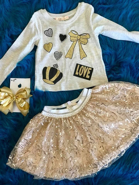 Baby Sara Fall L/S Hearts Bow Crown And Love Graphic Top CL - JEN'S KIDS BOUTIQUE