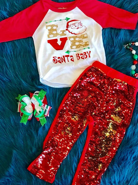 Holiday Fun 2017 Christmas Sparkle Shirt Santa Love - JEN'S KIDS BOUTIQUE