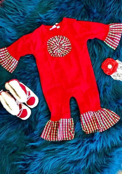 Koko-Nut Milk Kids 2017 Fall Girls Red & Green Romper - JEN'S KIDS BOUTIQUE