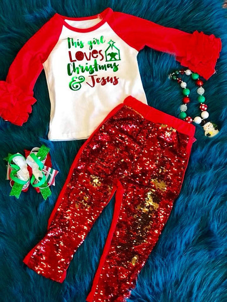 Holiday Fun 2017 Christmas Sparkle Reversable Red & Gold Pants - JEN'S KIDS BOUTIQUE