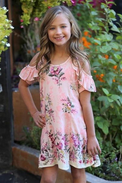 2018 Spring Kids Printed Flower Open Shoulder Dress - JEN'S KIDS BOUTIQUE
