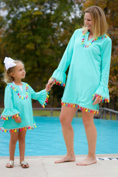 2018 Mommy & Me Matching Adorable Aqua Rainbow Tassel Swim Covers Moms - JEN'S KIDS BOUTIQUE