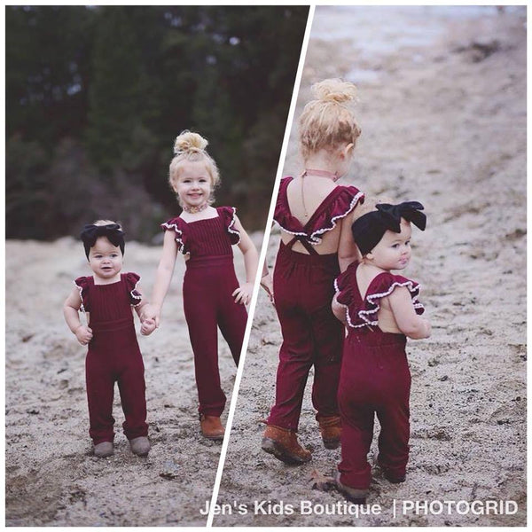 2018 Spring Pleated Ruffled Jumpsuit Romper Wine - JEN'S KIDS BOUTIQUE