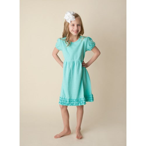 2018 Spring Girl's Aqua Short Sleeve Puff Empire Waist Dress - JEN'S KIDS BOUTIQUE
