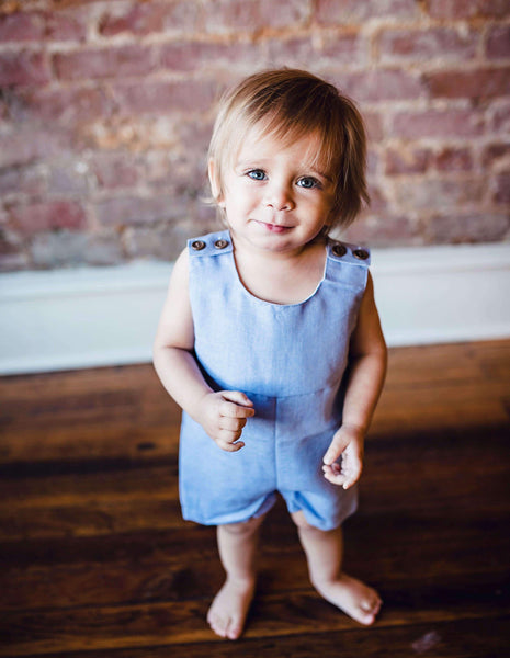 2018 Spring Dillian Jumpsuit Light Blue Boys Romper - JEN'S KIDS BOUTIQUE