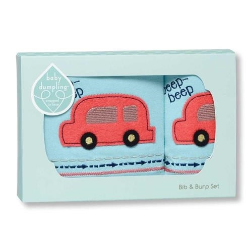 Cr Gibson Beep Beep Boys Bib And Burp Set - JEN'S KIDS BOUTIQUE