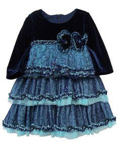 Isobella & Chloe Sabrina Navy Velvet Sequin Ruffle Dress - JEN'S KIDS BOUTIQUE