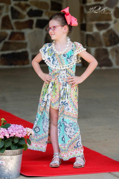 2018 Spring Adorable Multi Aztec Flyaway Romper - JEN'S KIDS BOUTIQUE